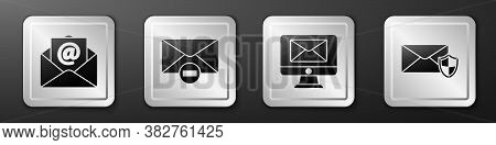 Set Mail And E-mail, Delete Envelope, Monitor And Envelope And Envelope With Shield Icon. Silver Squ