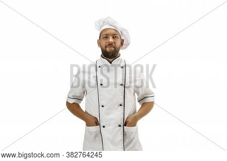 Cooker, Chef, Baker In Uniform Isolated On White Studio Background, Gourmet. Young Man, Restaurant C