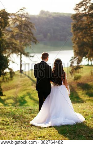Fiance In Black Tuxedo Hugs Bride In A White Dress With A Beautiful Hairstyle. View From Behind. Lov
