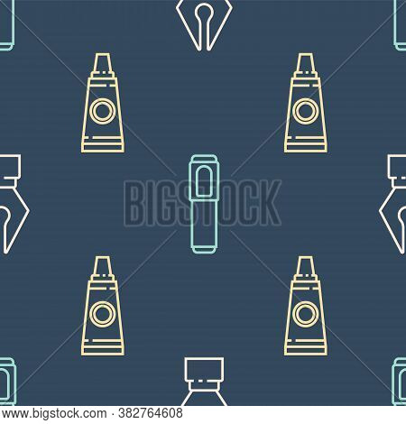 Set Line Fountain Pen Nib, Tube With Paint Palette And Marker Pen On Seamless Pattern. Vector