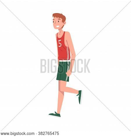 Smiling Teenage Boy Wearing Sports Clothes, Cheerful Student, Athlete Character Cartoon Style Vector