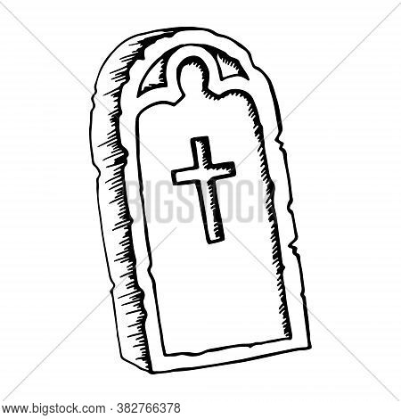 Vintage Shabby Headstones Set. Hand Drawn Doodle Sketch Black Outline Gloomy Gravestones For Hallowe