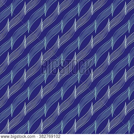 Abstract Vector Diagonal Lines Seamless Vector Pattern Background. Cobalt Blue Backdrop With 3d Effe