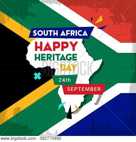 Happy South Africa Heritage Day - 24 September - Square Banner Template With The South African Flag