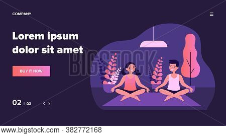 Cheerful Teenagers Practicing Yoga At Home. Teen Boy And Girl Sitting In Lotus Pose Flat Vector Illu