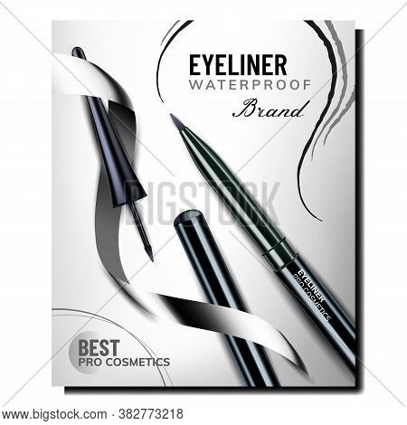 Eyeliner Pencil Creative Promotional Banner Vector. Eyeliner Face Glamor And Luxury Accessory On Adv