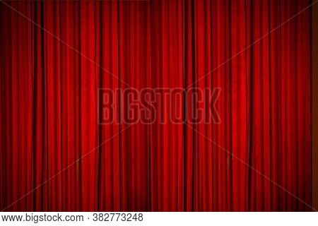 Beautiful Red Curtains Of The Stage Lit With Stage Lights, Moments Before The Curtains Went Up To Re