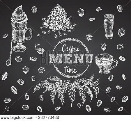 Coffee Time. Cup, Mug, Irish Coffee, Bean, Liqueur, Sugar On Black Chalk Board Background Vintage Ha