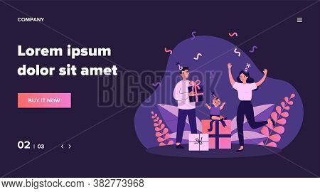 Family Celebrating First Kid Birthday. Young Couple, Toddler, Gifts, Confetti Flat Vector Illustrati