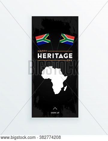 Happy Heritage Day - 24 September - Social Media Story Template With The South African Flags And Afr