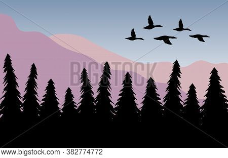 Vector Duck Flock Silhouette Isolated On Colored Flat Cartoon Landscape With Spruce Tree Forest And