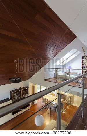 Modern Mansion With Wooden Ceiling