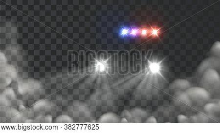 Police Car Light And Blink Siren In Fog Vector