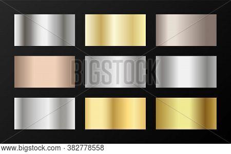 Gold, Silver And Bronze Gradients Vector Mega Set. Metallic Gold, Silver, Steel, Chrome, Copper, Bro
