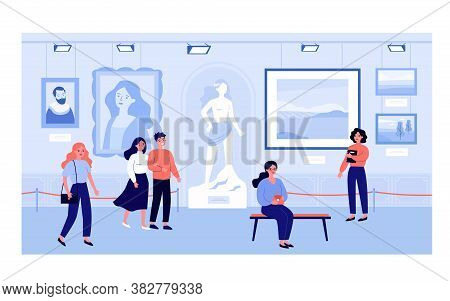 Visitors Of Art Gallery Or Museum Watching Exhibits Isolated Flat Vector Illustration. Cartoon Touri
