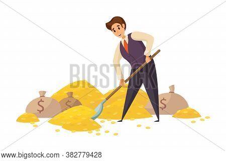 Money, Success, Capital, Profit, Wealth, Business Concept. Young Happy Smiling Rich Businessman Cler
