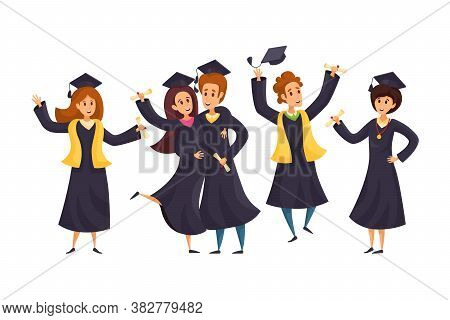 Success, Graduation, Education Concept. Group Of Happy Boys Girls Students Cartoon Characters In Aca
