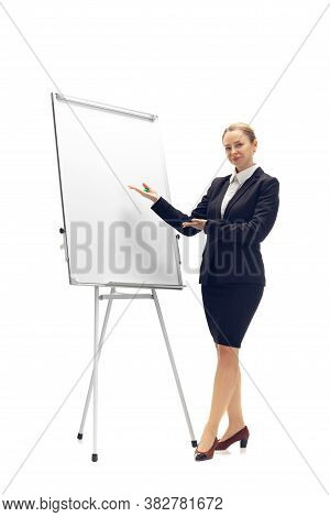 Working With Flipchart. Young Woman, Accountant, Finance Analyst Or Booker In Office Suit Isolated O
