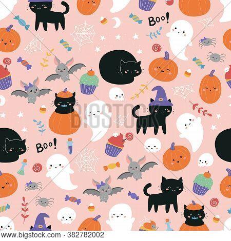 Childish Halloween Seamless Pattern. Cute Cartoon Black Cats, Sweets, Bats, Pumpkin And Ghosts On Pi
