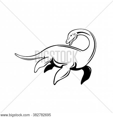 Retro Style Illustration Of A Loch Ness Monster Or Nessie, A Cryptid In Cryptozoology And Scottish F