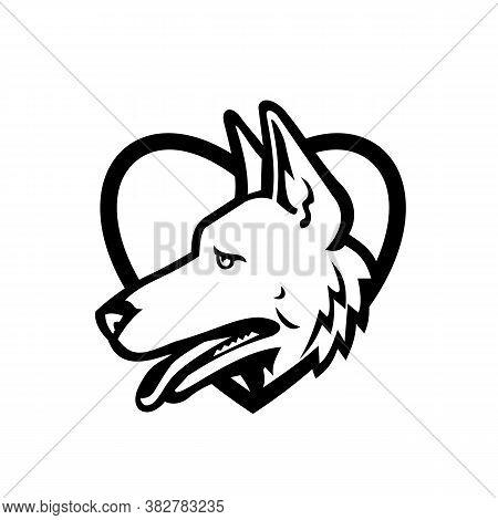 Black And White Mascot Illustration Of Head Of A German Shepherd Or Alsatian Wolf Dog Set Inside Hea