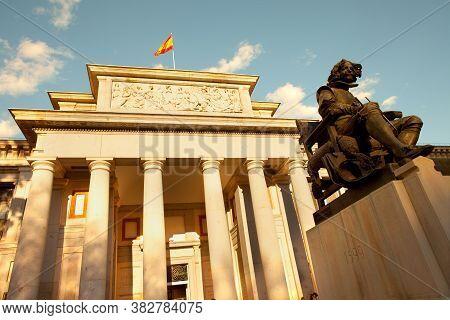 Madrid, Spain - April 04, 2010: Detail Od The Facade Of Museo Del Prado (prado Art Museum) And Paint