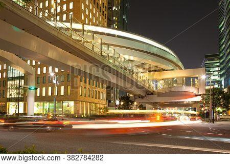 Elevated Pathway And Yurikamome Monorail At Shiodome Area, Shimbashi, Tokyo, Kanto Region, Honshu, J