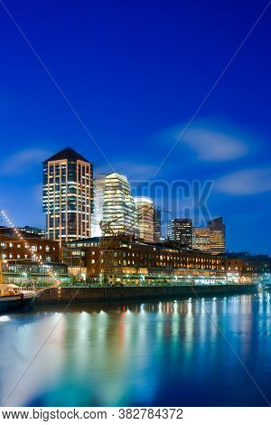 Cityscape Of Office Buildings And Restaurants At Puerto Madero, Capital Federal, Buenos Aires, Argen