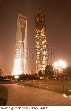 Central Greenfield, Pudong, Shanghai, China, Asia - November 26, 2008: Swfc - Shanghai World Financi