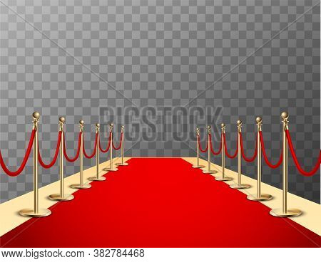Red Carpet Realistic Colored Composition With Red Event Carpet Barrier And Transparent Background Ve