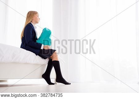 Low Angle Profile Side View Of Her She Nice Attractive Lonely Small Little Schoolchild Holding Bag S
