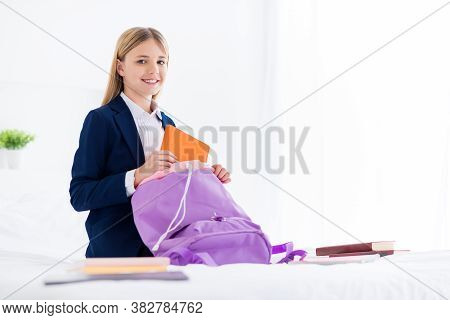 Portrait Of Her She Nice Attractive Cheerful Cheery Knowledgeable Small Little Schoolchild Packing B