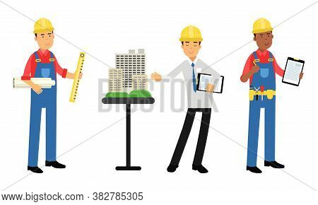 Constructor Or Builder In Yellow Hard Hat Holding Draft And Presenting Project Layout Vector Illustr