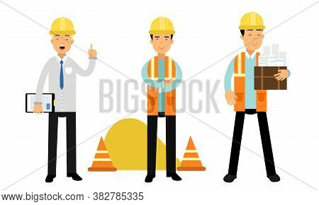 Foreman Or Architect In Yellow Hard Hat Holding Draft And Controlling Site Work Vector Illustration