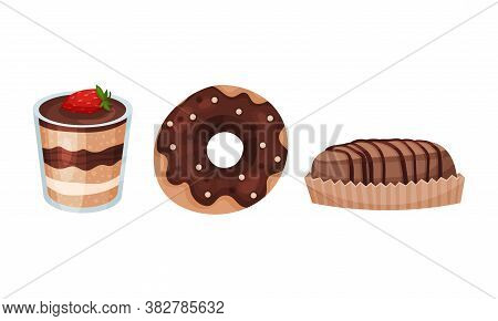 Sweet And Sugary Chocolate Desserts With Doughnut And Cake Vector Set