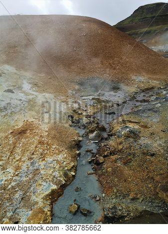 A View Of The Krysuvik Geothermal Hot Springs Area On The Reykjanes Peninsula In Iceland