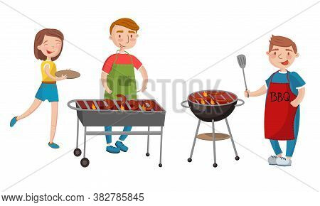 People Characters Having Barbeque Party Grilling Sausages Vector Illustration Set