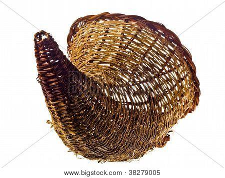 horn shape basket on white background
