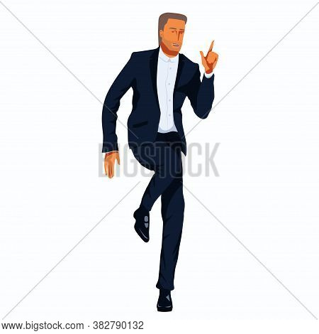 Senior Man In A Tuxedo Is Dancing. Elegantly Dressed In Formal Suit Attractive Man Strands On One Le