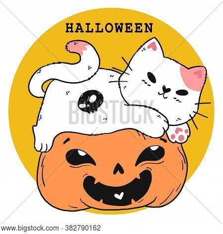 Cut File Cute White Fat Cat Play On Craved Smile Orange Pumpkin Halloween , Idea For Sticker, Circus