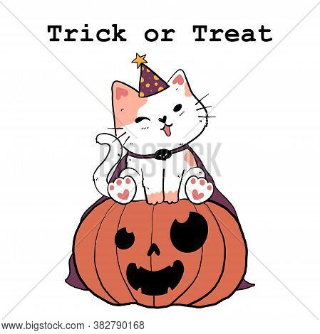 Cute Doodle White Fat Cat In Purple Witch Hat And Cape Sit On An Orange Autumn Pumpkin Leaf Fall, Tr
