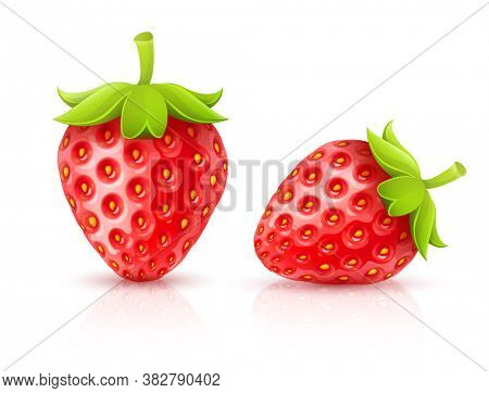 Strawberry red ripe fruits isolated. Isolated on white background. 3D illustration.
