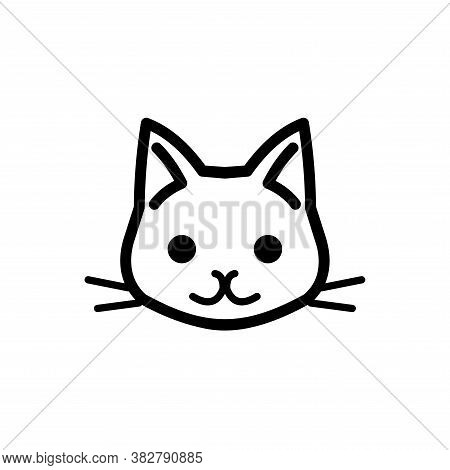 Vector Of Cat Head Icon. Cat Icon Vector. Cat Icon Black On White Background. Cat Icon Simple And Mo