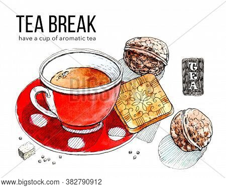 Pleasant Relaxation With Cup Of Aromatic Tea. Watercolor Illustration Of Cup Of Black Tea, Cookies A