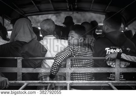 Kin Pun, Myanmar - December 30, 2019: A Crammed Truck On The Road For Kyaiktiyo Pagoda. The Only Way