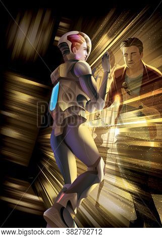 Vector Illustration Of The Woman Astronaut Goes For A Mission In The Universe, She Fell Into The Bla