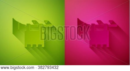 Paper Cut Trumpet With Flag Icon Isolated On Green And Pink Background. Musical Instrument Trumpet.