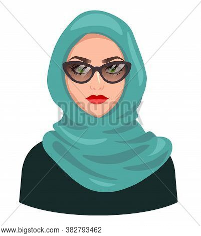 Muslim Woman Avatar, Isolated On White. Young Arabic Girl Wearing Hijab And Sunglasses. Cartoon Fema