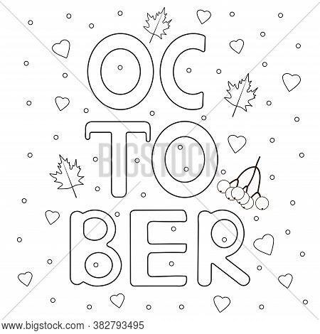 Autumn Coloring Page. Fall Coloring .october. Vector Illustration.
