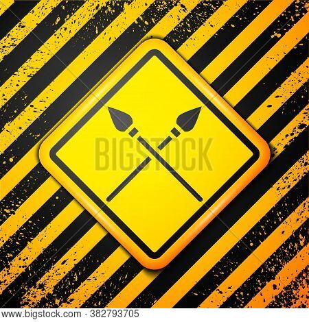 Black Crossed Medieval Spears Icon Isolated On Yellow Background. Medieval Weapon. Warning Sign. Vec